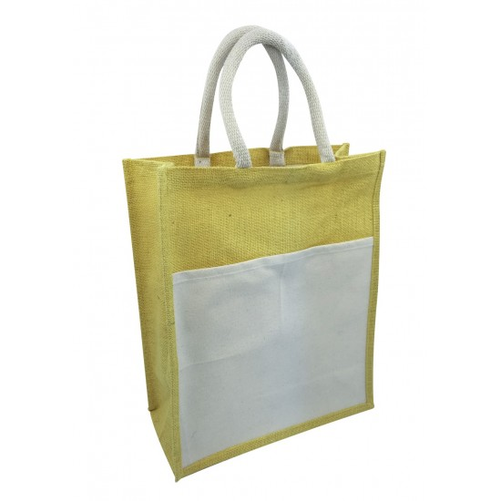 JUTE WITH CANVAS FRONT POCKET