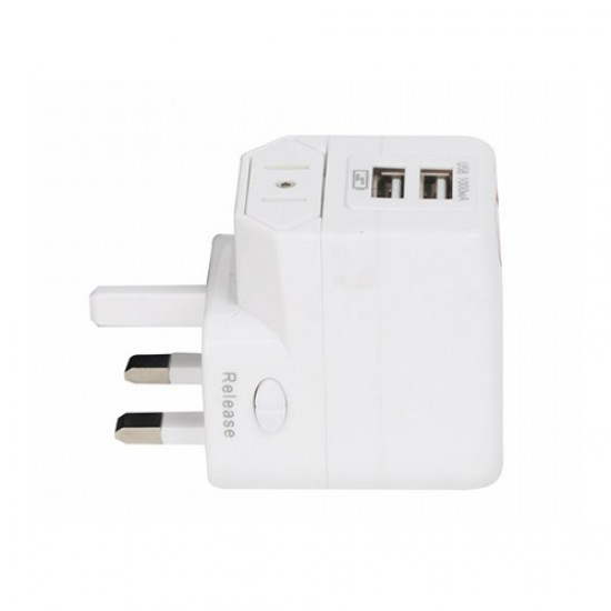 DETACHABLE WORLD TRAVEL ADAPTER (WITH DUAL USB PORT)