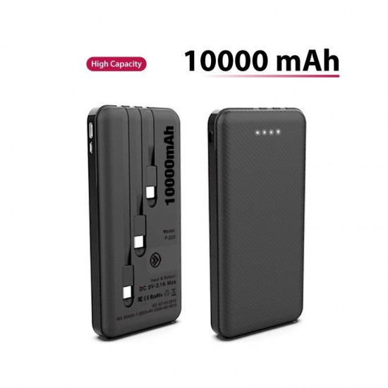 POWERBANK WITH 3 BUILT IN CABLE 10000mAh