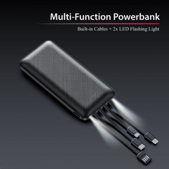 POWERBANK WITH 4 BUILT IN CABLE - 10000mA