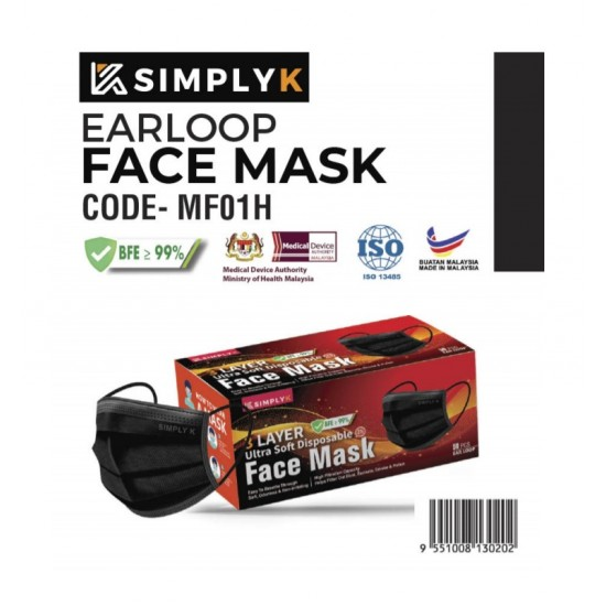 Simply K Earloop 3 Ply MASK ADULT BFE <95% Disposable Face Mask With Box |Good Quality Mask MDA Cert