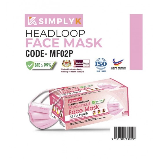 Simply K Headloop Face Mask 3 ply BFE <95% FOR HIJAB WOMEN 50PCS Premium Quality-Colour Face Mask