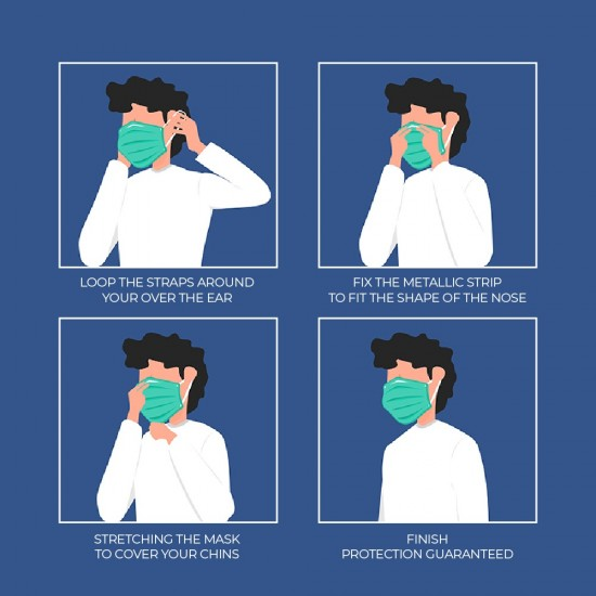 HIL MEDIC 3 Ply Surgical Grade Face Mask Standard Blue Color 50pcs/box