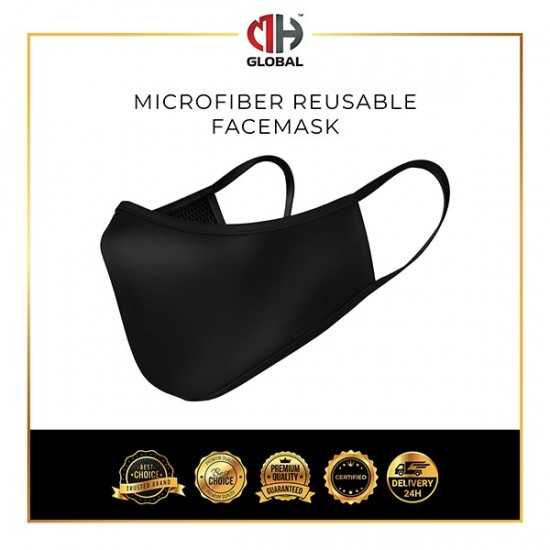 Washable Face Mask Black 3ply , Breathable Comfort, Water Repellent Fast Delivery Reusable Mask