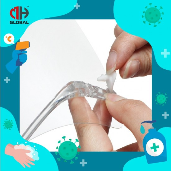 Face Shield with Glasses Frames Ultra Clear Protective Full Face - Anti-Fog PET Plastic Sanitary Droplet Guard