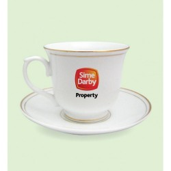 CUP & SAUCER WITH GOLD BANDING 210 ML