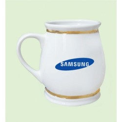 CERAMIC MUG WITH GOLD RIM 480 ML