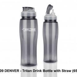 DENVER - TRITAN DRINK BOTTLE WITH STRAW (650 ML)