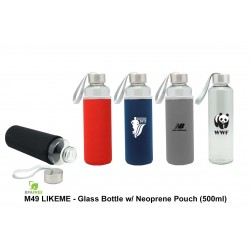 LIKEME - GLASS BOTTLE WITH NEOPRENE POUCH (500 ML)