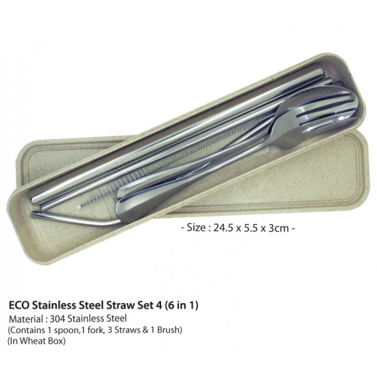 ECO STAINLESS STEEL CUTLERY AND STRAW SET