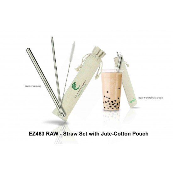 RAW - STRAW SET WITH JUTE-COTTON POUCH