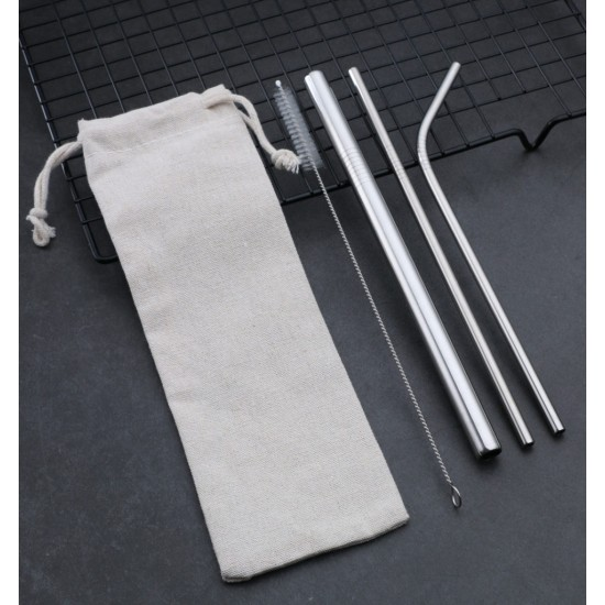 4 IN 1 STRAW SET WITH CANVAS POUCH