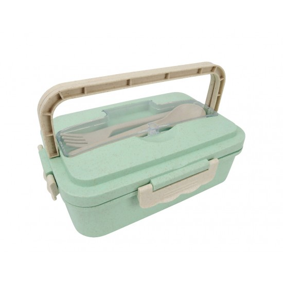 ECO WHEATSTRAW FOOD CONTAINER WITH CUTLERY SET