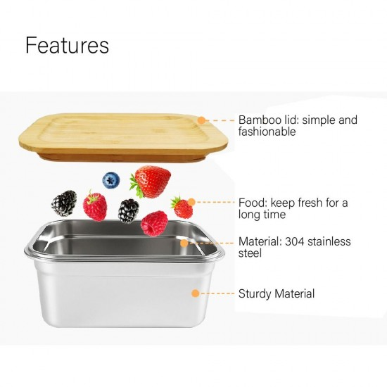Bamboo SUS304 Lunch Box L Size – 1L