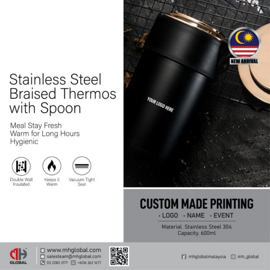 Stainless Steel Braised Thermos with Spoon - 600ml
