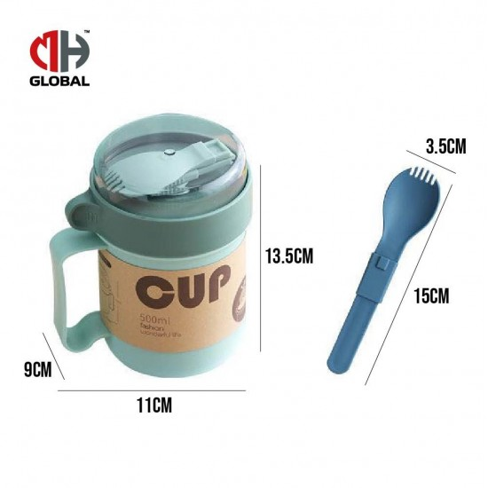 Casual PP Soup Cup With Foldable Spoon - 500ml